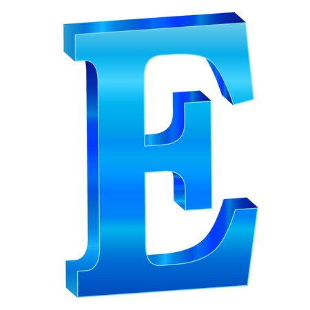 Blue alphabet E Stock Vector - 18639499