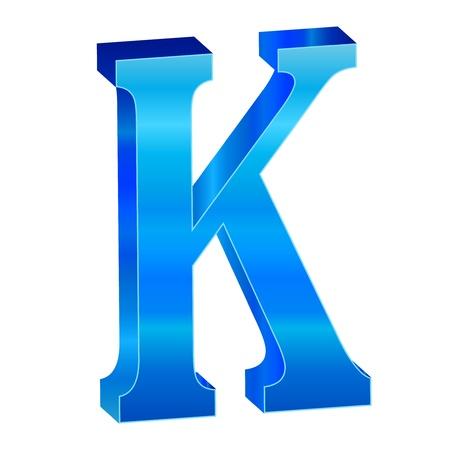 Blue alphabet K Stock Vector - 18638817
