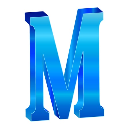 Blue alphabet M Vector