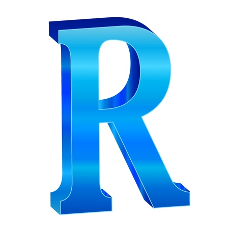 Blue alphabet R Stock Vector - 18638819