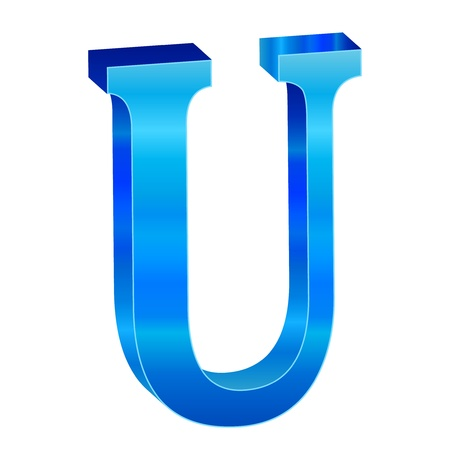 Blue alphabet U Vector