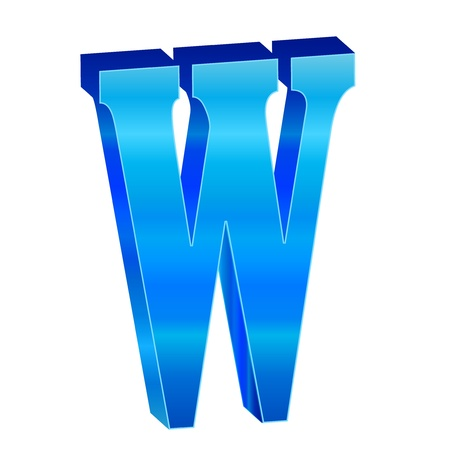 Blue alphabet W Stock Vector - 18638814