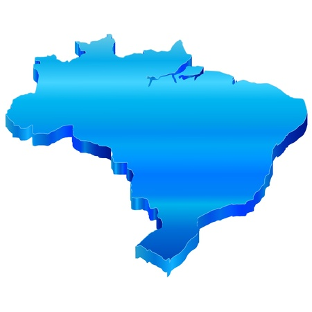 3D Map of Brazil Vector