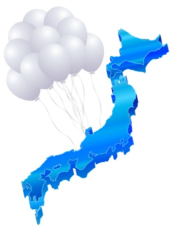 and he no background: Balloons 3D map of Japan