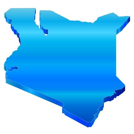 3D Map of Kenya Stock Vector - 18619243