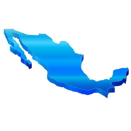 メキシコの 3 D マップ  イラスト・ベクター素材