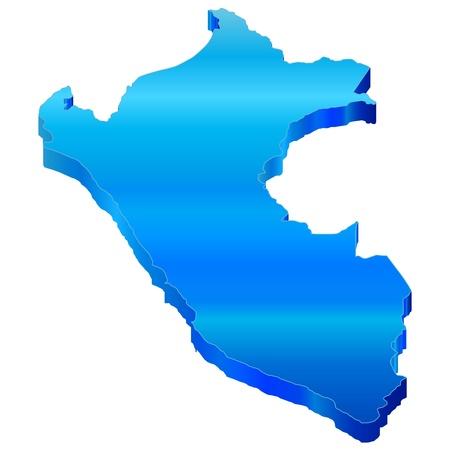 3D Map of Peru Stock Vector - 18619245