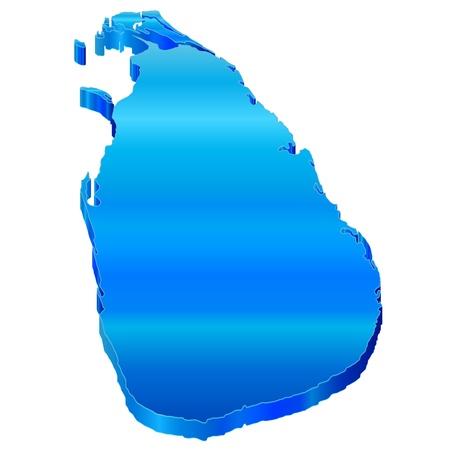 sri: 3D map of Sri Lanka Illustration