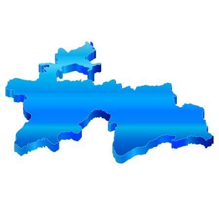 3D Map of Tajikistan Stock Vector - 18619317