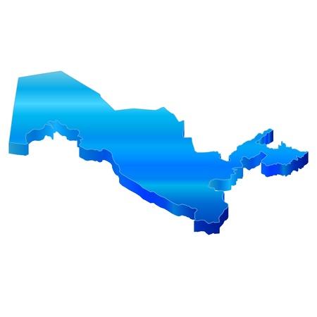 oezbekistan: 3D Kaart van Oezbekistan Stock Illustratie