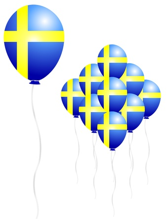 bandera de suecia: Suecia globo bandera Vectores