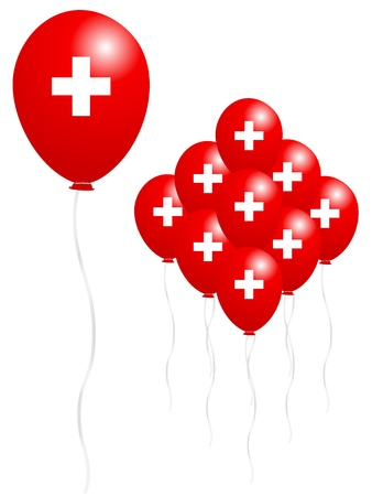 swiss flag: Swiss flag balloon Illustration