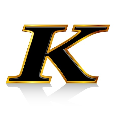 Black gold alphabet K Vector