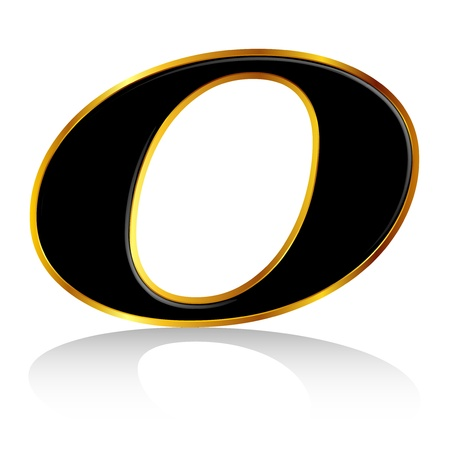 Black gold alphabet O Vector