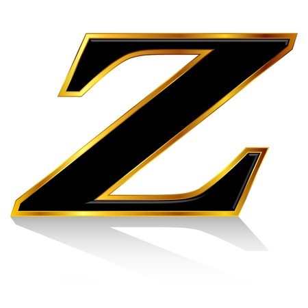 Black gold alphabet Z Vector