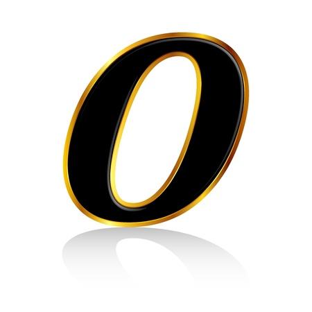 Gold black number 0