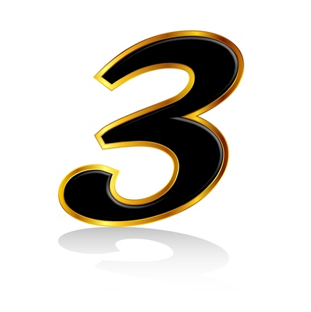 he is no background: Gold black number 3