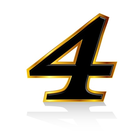 and he no background: Gold black number 4