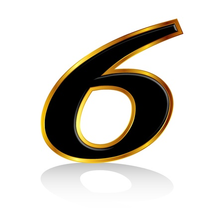 Gold black number 6 Vector
