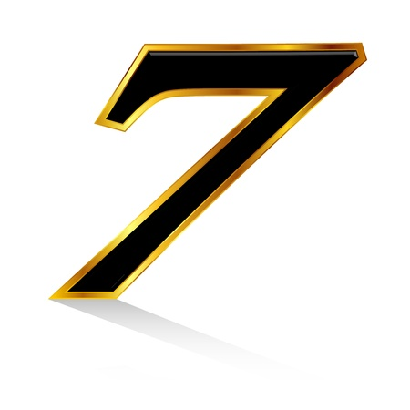 and he no background: Gold black number 7