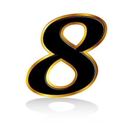 Gold black number 8 Stock Vector - 18701458