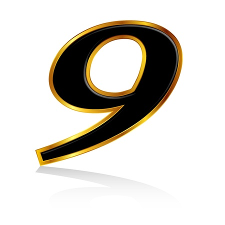 he is no background: Gold black number 9