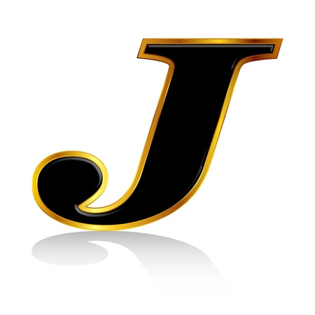 Black gold alphabet J Vector