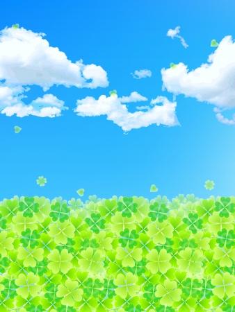 夏の背景の葉のクローバー