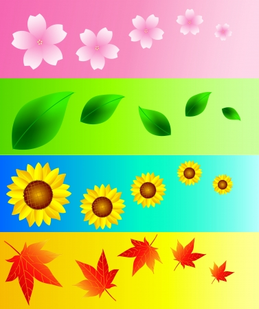 Cherry maple leaf sunflower background Stock Vector - 18955894