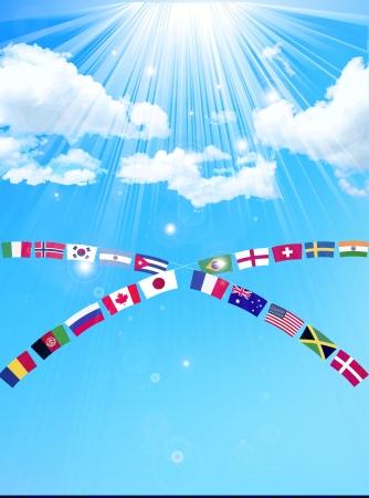 体育大会国旗青い空を背景 写真素材 - 18997531