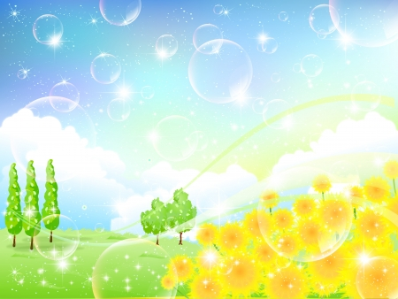 Sunflower flower background landscape Vector