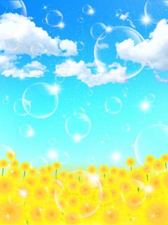 背景のヒマワリの花風景