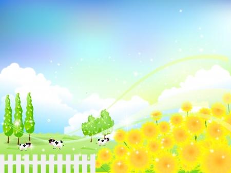 向日葵の花の背景の牛の牧場