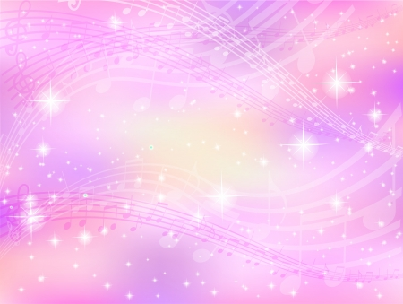 Background music notes pink Vector