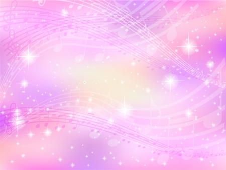 Notas de la música de fondo de color rosa Foto de archivo - 19164043