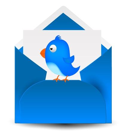 Blue Bird mail letter 3D Stock Vector - 19245726