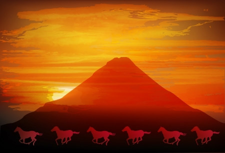 geishun: Fuji sunrise Horse Illustration