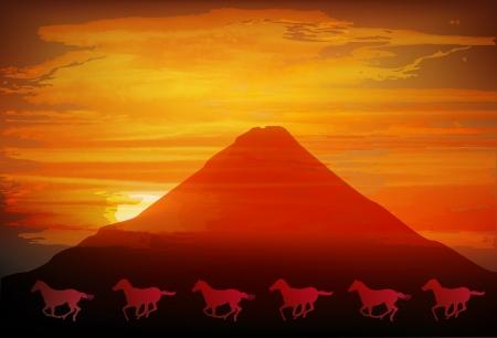 geishun: Fuji sunrise Horse Illustration