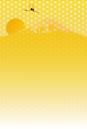 year s: Fuji sunrise New Year s greeting card background Illustration