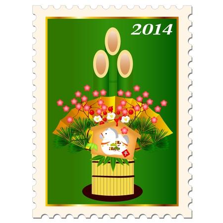 ema: Horse Kadomatsu stamp Ema