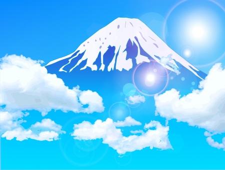 富士の空の背景  イラスト・ベクター素材