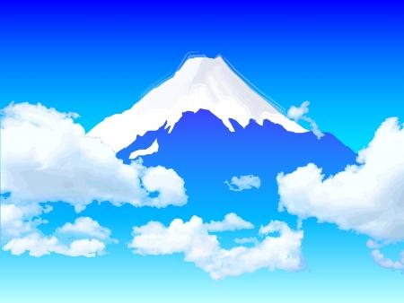 富士の雲の背景  イラスト・ベクター素材