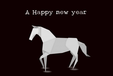 Horse Origami New Year card Vector