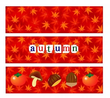 persimmon: Autumn maple foliage background Illustration