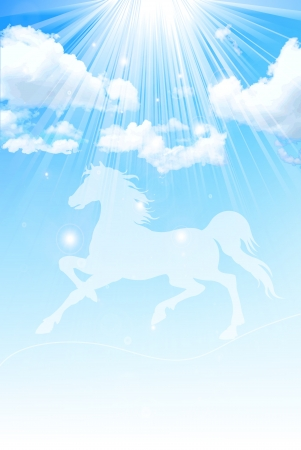 New Year card horse sky Vector