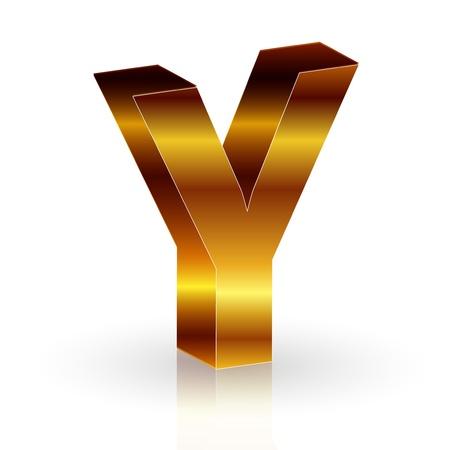 gold alphabet: Y Illustration