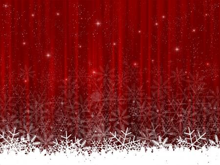 ciel rouge: Neige de No�l rideau rouge