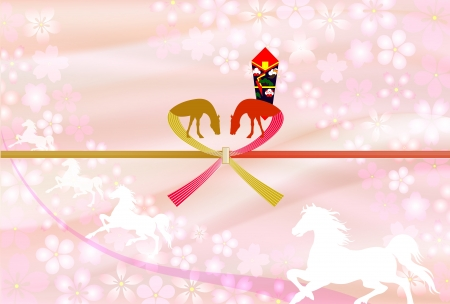Horse auspicious decoration for gifts Pink Vector