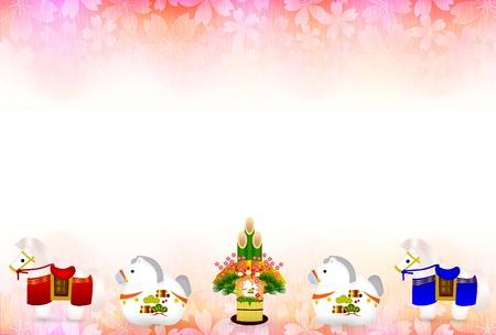 geishun: Horse New Year s card Fuji background Illustration