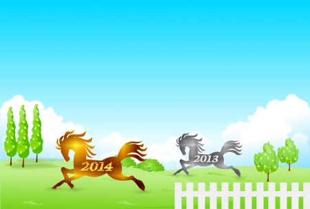 Horse zodiac New Year s card Vector
